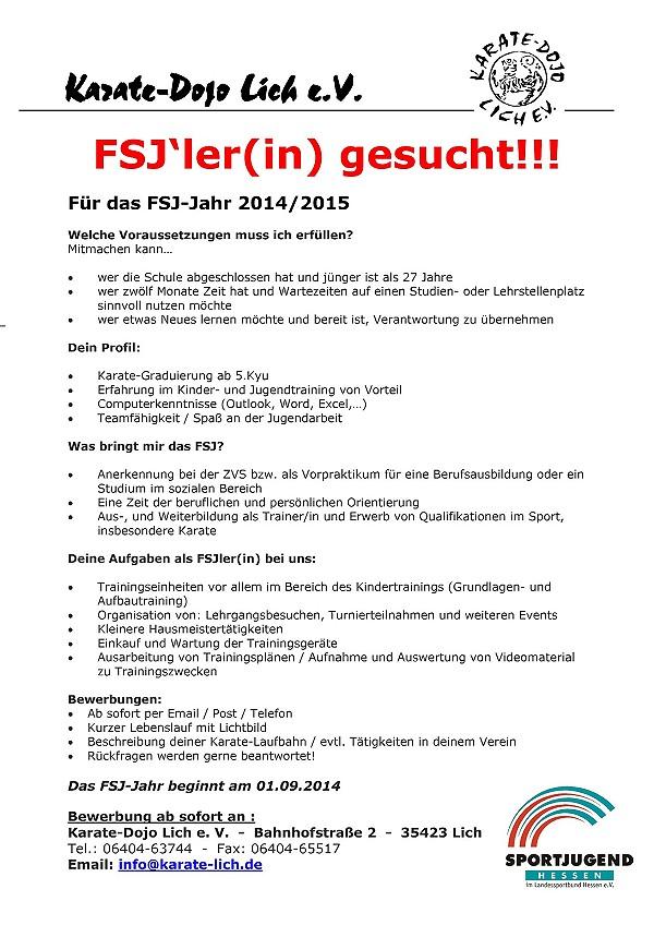 freie fsj stelle fr das jahr 2014 2015 - Motivationsschreiben Fsj Muster